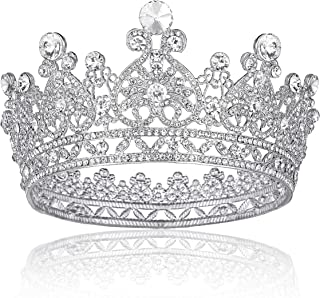 Crystal Crowns for Women, Full Round Crystal Queen Crown Princess Tiaras for Girls Hair Accessories