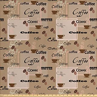 Ambesonne Coffee Fabric by The Yard, Coffee Words Different Typographies Beans Cups on Abstract Vintage Backdrop, Decorative Fabric for Upholstery and Home Accents, 1 Yard, Black Brown