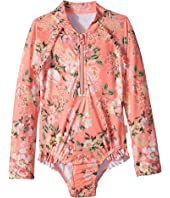 Seafolly Kids Forget Me Not Long Sleeve Surf Tank One-Piece (Infant/Toddler/Little Kids)