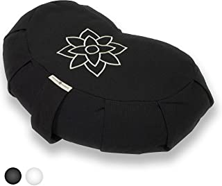 Mindful and Modern Large Meditation Cushion Crescent - Half Moon Pillow Yoga Bolster for Best Posture - Buckwheat Hull Filled Cushion with Removable Cover and Carry Handle