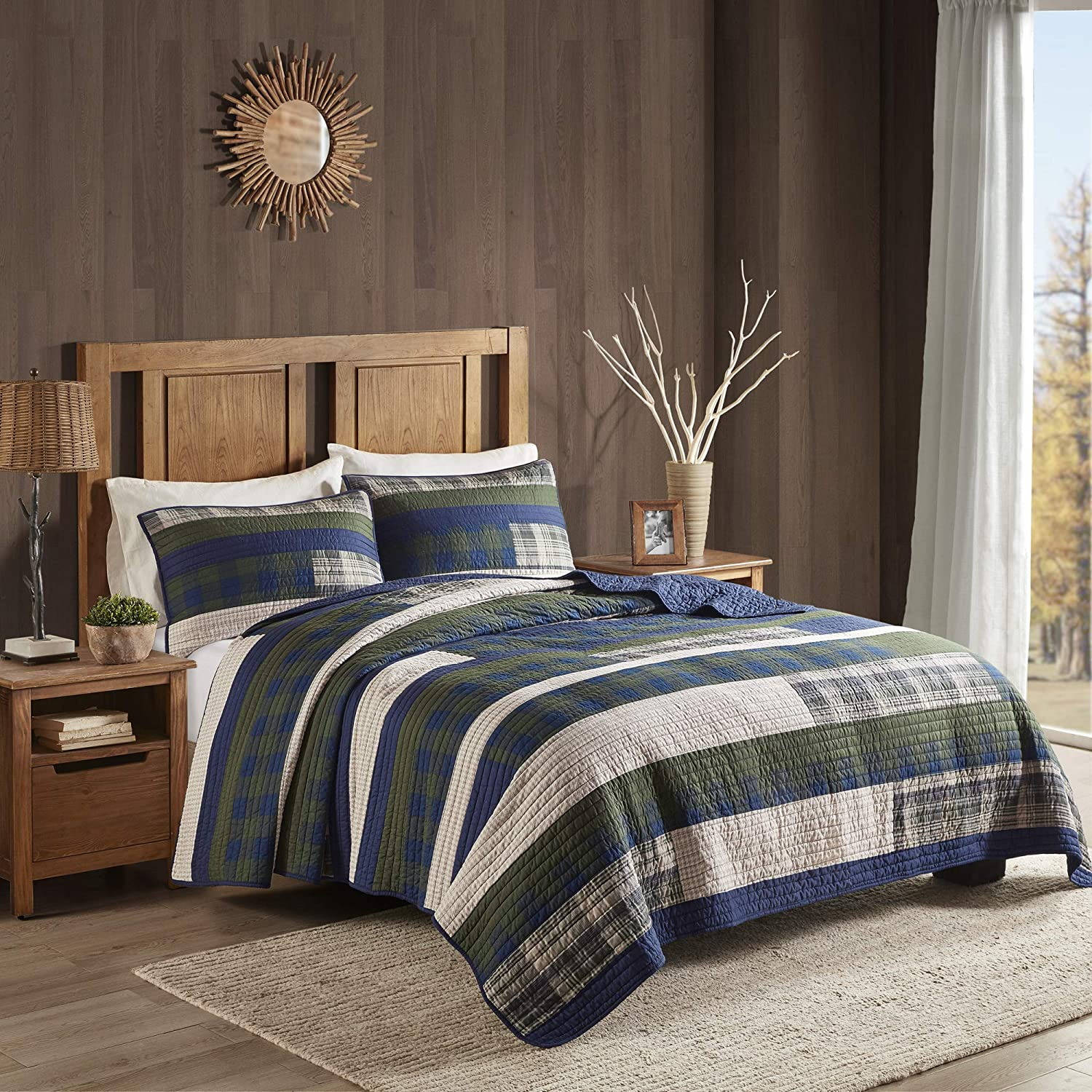 """Woolrich 100% Cotton Quilt Reversible Plaid Cabin Lifestyle Design All Season, Breathable Coverlet Bedspread Bedding Set, Matching Shams, Full/Queen(92""""x96""""), Spruce Hill, Green 3 Piece"""