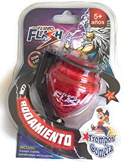 Grahmart Deluxe Turbo Flash Trompo Mexicano - Durable Plastic Spin Tops & Metal Tip LED Light