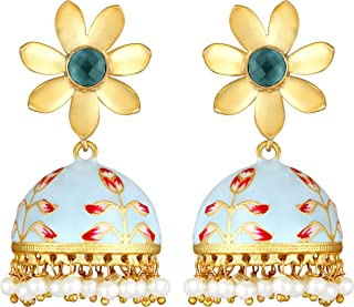 Floral Shaped Dangle Jhumki Jhumka Earrings Indian Enamel Work Color Ethnic Fashion Jewelry