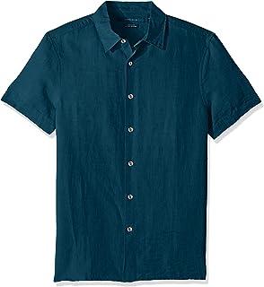 Perry Ellis Men's Short Sleeve Solid Linen Cotton Button-up Shirt