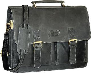 Menzo Aktentasche aus echten Leder, Laptoptasche bis zu 15 Zoll, Vintage Umhängetasche, Messenger Bag für Damen und Herren, Ideal für Schule, Uni oder Arbeit schwarz