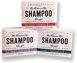 J.R. Liggett's Old Fashioned Shampoo Bar 3.5 Ounces Variety 3 Pack: Original Formula, Tea Tree & Hemp Oil, and Jojoba & Peppermint