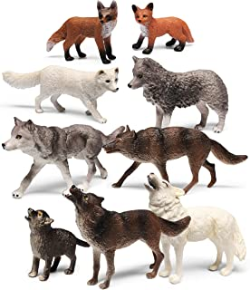 shopperals 9 Pieces Wolf and Fox Animal Figurines Set, for Kids and for Imaginative Play   Zoo Playset   Educational Toys...