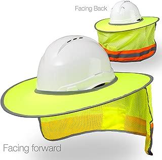 Hard Hat Sun Shield - High Visibility, Reflective, Full Brim Mesh Sun Shade Protection, Hard Hat Shade, Neck Shade, Hardhat Accessory (Yellow/Lime)