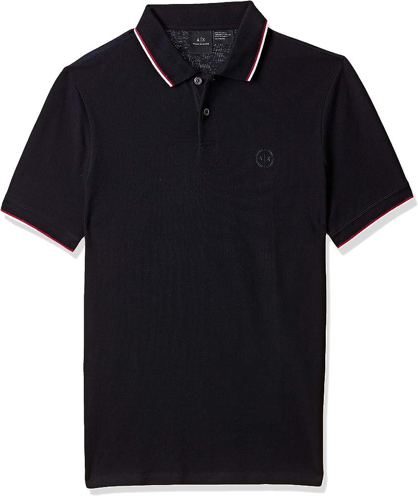 Armani exchange polo,maglietta a maniche corte per uomo,100% cotone 8NZF75Z8M5Z1510
