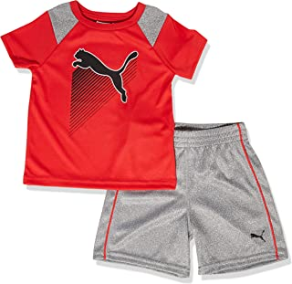 12 Months, White//Grey 2 pc. PUMA Baby Boys PUMA Shorts and Shirt Set