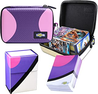 Totem World Master Ball Themed Card Case for Pokemon Cards with Deck Protector Box and 100 Card Sleeves - Kid Safe Zipper Carrying Organizer - 500 Card Holder
