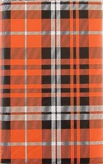 Haunted Halloween Pumpkin Orange and Black Plaid Vinyl Flannel Back Tablecloth (52