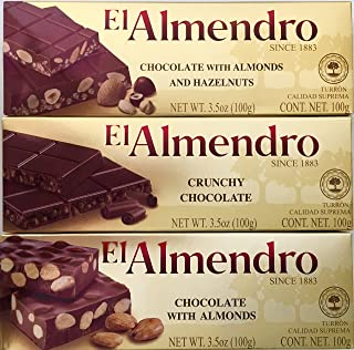 El Almendro Chocolate Turron Pack: Chocolate With Almonds, Crunchy Chocolate, And Chocolate With