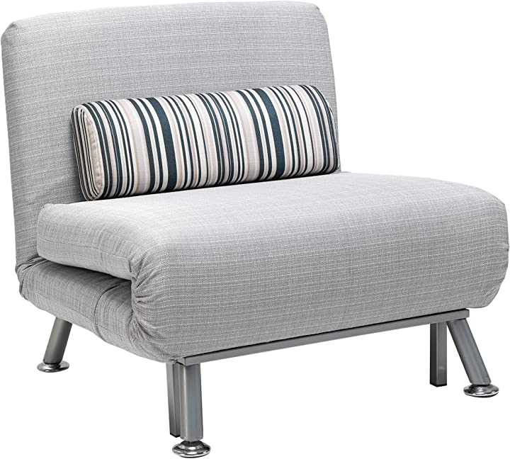 poltrona letto homcom con cuscino a righe multifunzionale in ferro e cotone 75 x 70 x 75cm grigio it833-0660631