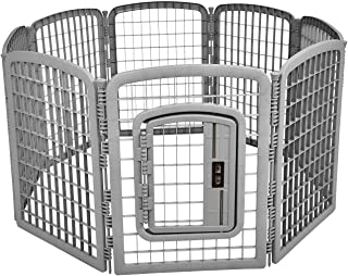 "Amazon Basics 8-Panel Plastic Pet Pen - 34"", Grey"