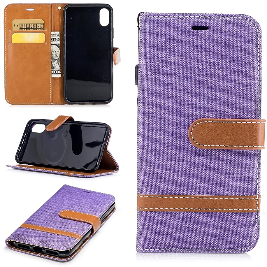 Wallet Leather Case for iPhone X, Denim Canvas Case with Card Slots & Kickstand & Wrist Strap, 360 Full Body Protective Embedded Magnetic Flip Folio Cover for iPhone X Edition /iPhone 10 (5.8)- Mauve