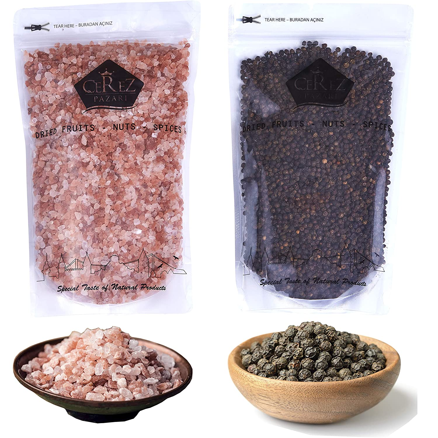 Cerez Pazari | Whole Black Peppercorns 14oz, Himalayan Pink Salt (Coarse Grain) 2.2 lbs, Premium Quality, Freshly Packed For Grinder Refill, Resealable Bulk Bag, Non-GMO and Gluten Free