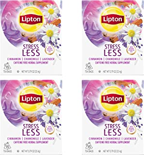 Lipton Herbal Supplement, Stress Less 15 ct, Pack of 4