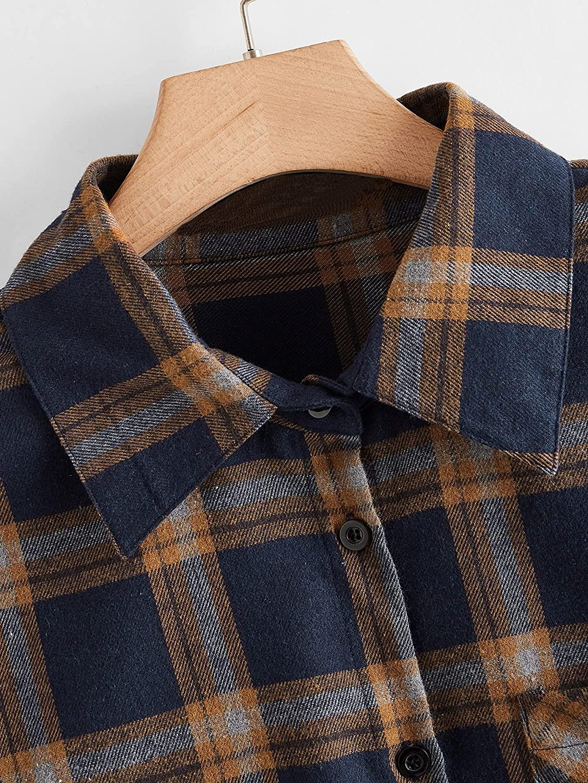 Floerns Women's Plus Size Long Sleeve Button Down Plaid Shirt Blouse Tops