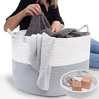 Blanket Basket Cotton Rope Basket - XXL Extra Large Woven Basket with Bonus Woven Storage Basket Tray – Woven Storage Baskets Perfect as a Toy Basket, Blanket Basket, Rope Laundry Basket
