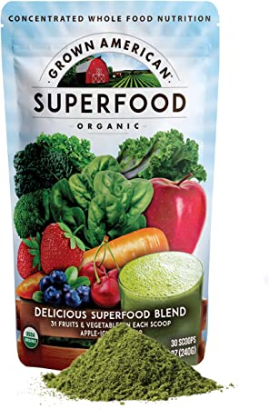 Grown American Superfood - 31 Organic Whole Fruits and Vegetables - Concentrated Green Powder - Increase Energy and Performance - Packed with Antioxidants -100% Certified Organic and Vegan, Non-GMO