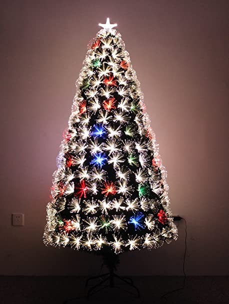 5ft Fibre Optic Christmas Tree with LED Lights and Star Topper 4ft 6ft