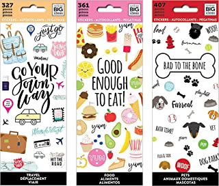 me & My Big Ideas The Happy Planner Tiny Sticker Pad Value Pack: Travel, Food, Bad to The Bone (Pets).Set of 3