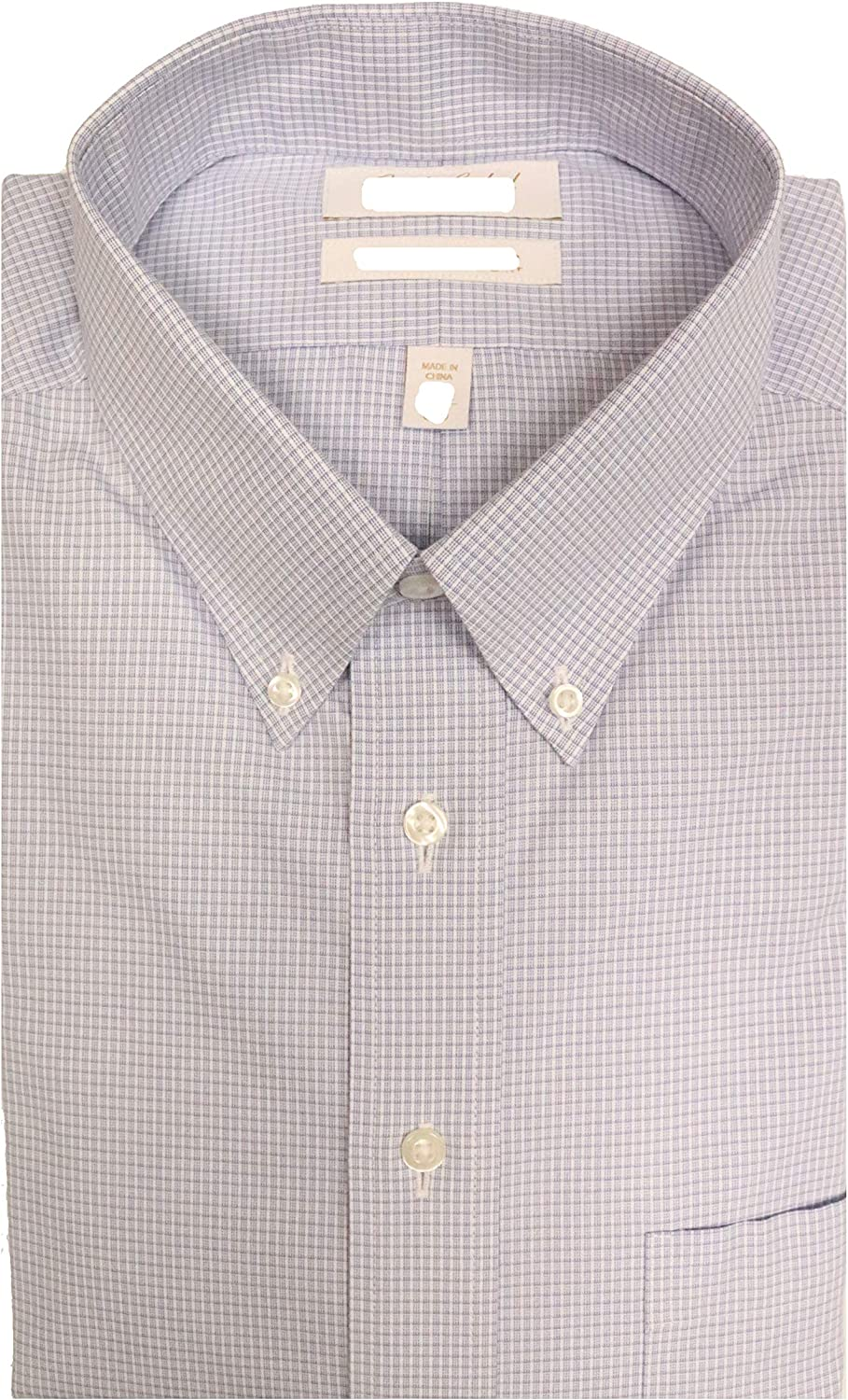 Gold Label Roundtree & Yorke Non-Iron Fitted Button Down Plaid Dress Shirt G16A0032 Blue