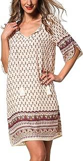 Women's Bohemian Vintage Printed Loose Casual Boho Tunic Dress