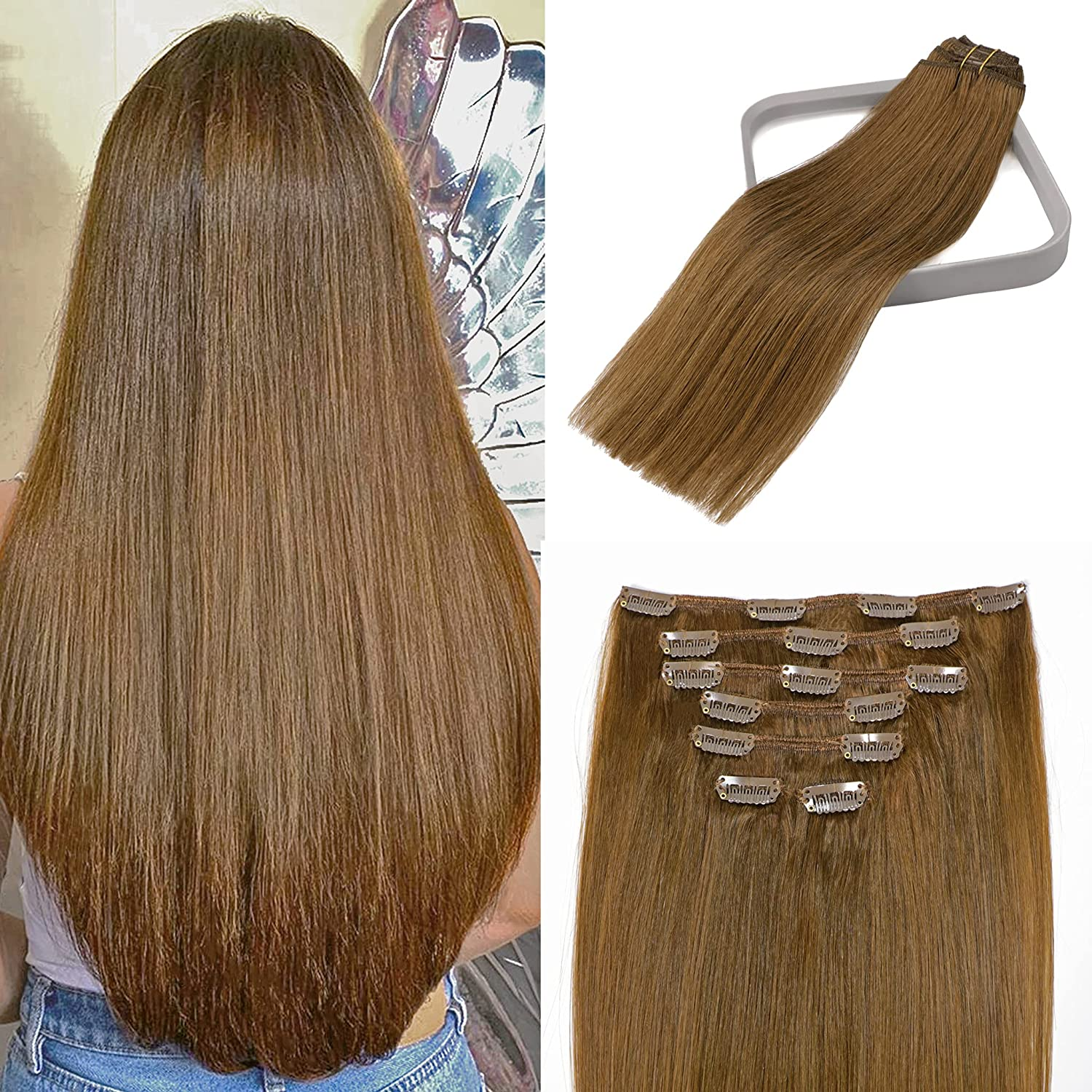 Clip Max 80% OFF in Hair Extensions Remy Medium Black For Max 68% OFF Light W Brown