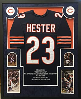 Devin Hester Chicago Bears Autograph Signed Custom Framed Jersey Embroidered Stats Suede Matted White 4 Pic JSA Witnessed Certified