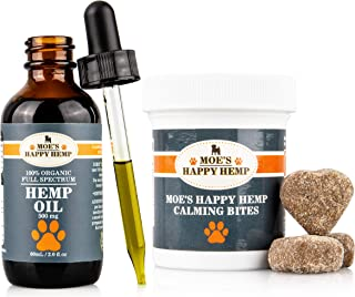 Organic Hemp Oil for Dogs with Calming Treats: Dog Anxiety Relief and Calm Aid for Hyperactive or Aggressive Pets - Daily Supplement to Support Joints, Healthy Skin and Coat - 2 Ounce Dropper Bottle