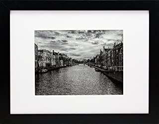 96f15389b24 9x12 Black Gallery Picture Frame with 6x8 Mat - Wide Molding - Includes  Both Attached Hanging