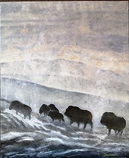 """Cuadro al óleo""""Habitantes del Yellowstone Valley"""""""
