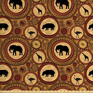 Ambesonne Zambia Fabric by The Yard, Animals Elephant Camel Giraffe Lion Graphic Print, Decorative Fabric for Upholstery a...