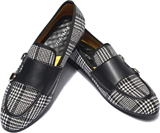 XQWFH Mens Casual Classic Plaid Loafer with Gold Buckle Penny Slip-On Wedding Party Prom Shoes