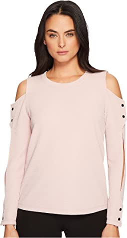 Ivanka Trump Cold Shoulder Textured Knit Blouse