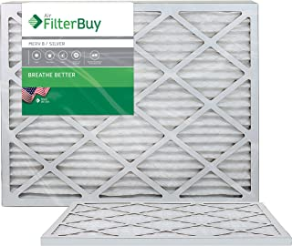 FilterBuy 20x25x1 MERV 8 Pleated AC Furnace Air Filter, (Pack of 2 Filters), 20x25x1 – Silver