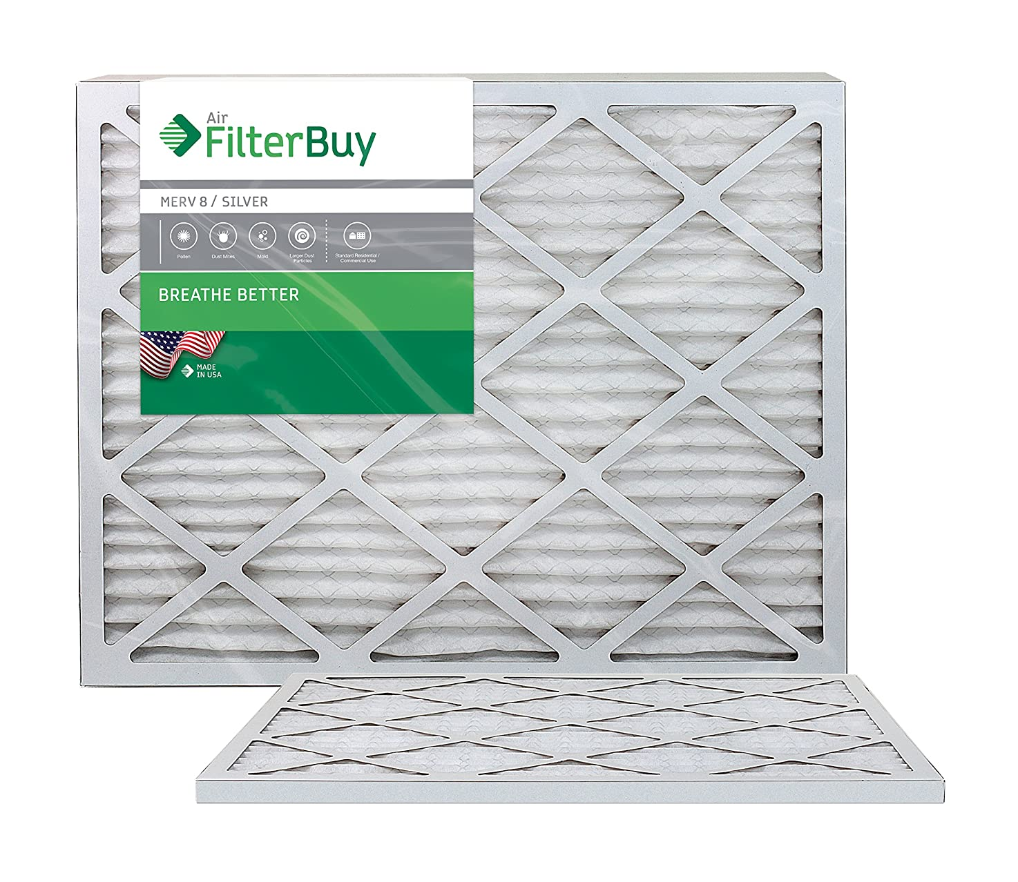 FilterBuy 23.5x23.5x1 MERV 8 Pleated AC Furnace Air Filter, (Pack of 2 Filters), 23.5x23.5x1 – Silver