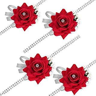 DearHouse 4 Pack Rose Wrist Corsage Wristband, Velvet Open Rose Silvery Bling Ribbon Rhinestone Stretch Bracelet Wedding Prom Wrist Corsage Hand Flower, Red