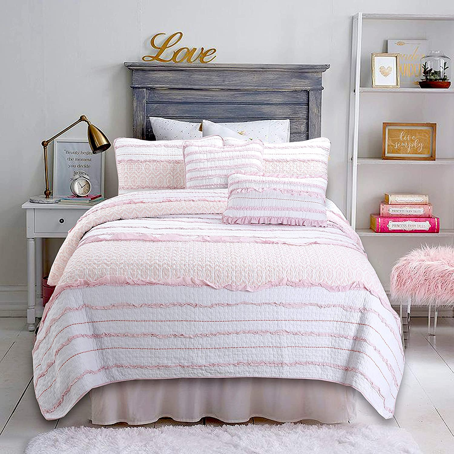 Cozy Line Latest item Home Fashions Special price for a limited time Pink 100% Cotton Reversi Princess Ruffle