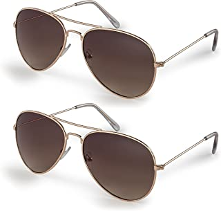 Stylle Classic Aviator Pilot Flat Lens Sunglasses For Men and Women with Protective Bag, 100% UV Protection