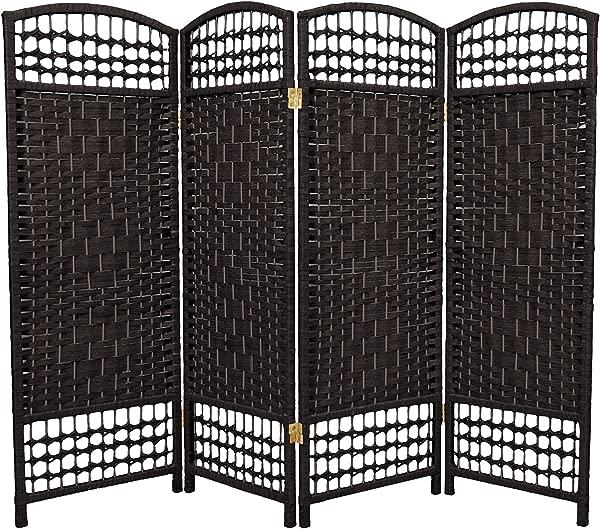 东方家具 4 英尺高纤维编织房间隔断黑色 4 板
