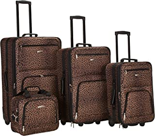 Luggage 4 Piece Luggage Set, Brown Leopard, Medium