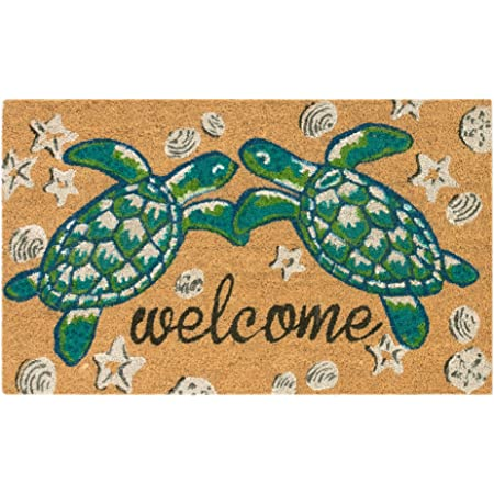 Sea Turtle Home Laser Engraved Coir Fiber Welcome Doormat 30 X 18 Kitchen Dining
