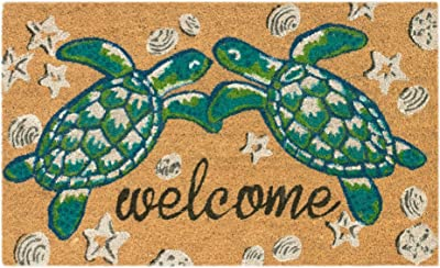 "Trans Ocean Coconut Area Rugs Liora Manne Natura Seaturtle Welcome Indoor/Outdoor Mat Natural 18"" X 30"" 18 X 0.06 X 30 Inches Natural"