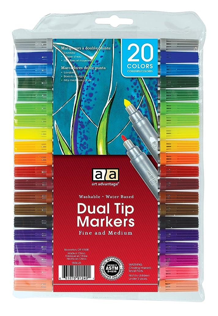 Art Advantage Washable Dual Tip Marker Set, 20 Colors