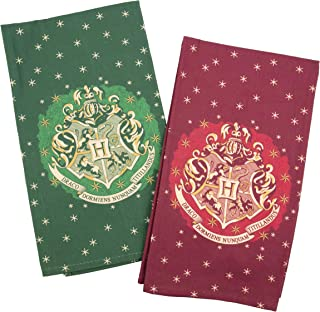 HARRY POTTER Christmas Dish Towel Set - Holiday Red and Green with Hogwarts House Crest Design - 100% Cotton - 18 x 24
