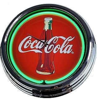 Neon Clock Coca-Cola - Reloj decorativo con luz, diseño de Estados Unidos, estilo retro de los años 50, color verde