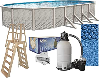 Meadows 15-Foot-by-24-Foot Oval Above-Ground Swimming Pool | 52-Inch Height | Steel-Sided Walls | Bundle Kit | Boulder Swirl Liner | A-Frame Ladder | Filter Tank | 1 HP Pump | Wide-Mouth Skimmer